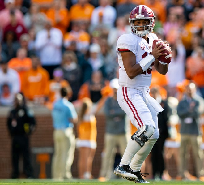 Alabama quarterback Tua Tagovailoa (13) looks to pass against Tennessee in first half action at Neyland Stadium in Knoxville, Tn., on Saturday October 20, 2018.