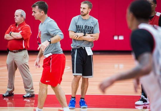 Assistant coach Ben Botts during practice in Worthen Arena's practice gym Tuesday, Oct. 23, 2018.