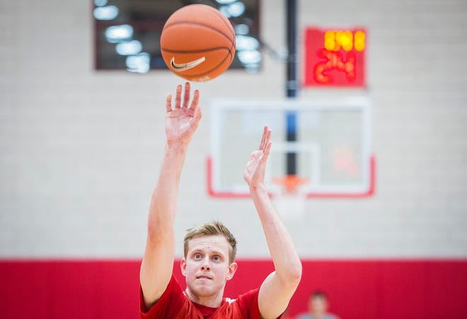 Ball State's Austin Nehls shoots during practice in the Dr. Don Shondell Practice Center on Tuesday, Oct. 23, 2018.