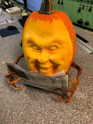 Liza Slaughter-Barker completed this 3D-style pumpkin carving to read The Tennessean's comic section.