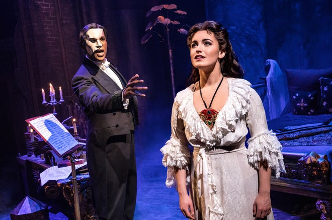 """Quentin Oliver Lee as the Phantom and Eva Tavares as Christine Daaé in """"The Phantom of the Opera."""""""
