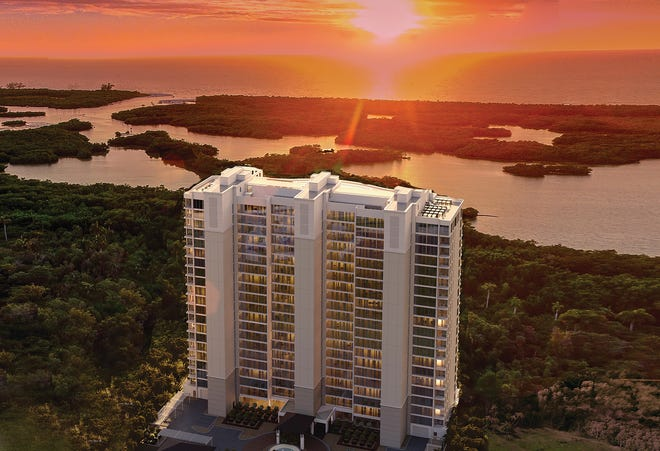 Residences in the second, 22-story tower at Kalea Bay offer panoramic views of the Gulf of Mexico.