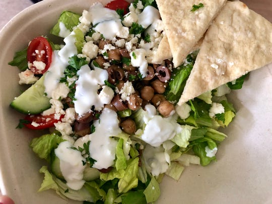 A light and refreshing Greek chickpea salad from Yana Eats in Naples.
