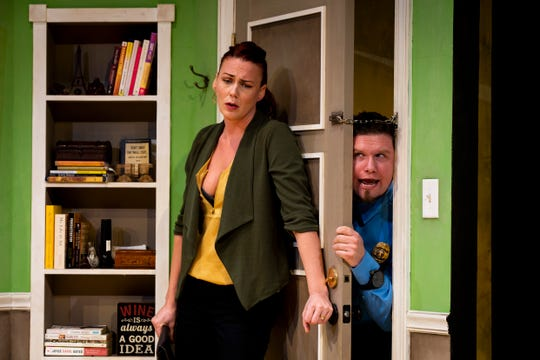 Caitlynn Crawford and Mike Santos perform during a dress rehearsal for June and Jason's Divorce, written by Laura Lorusso and directed by Jessica Walck, on Monday, October 22, 2018, at Sugden Community Theater in Naples.