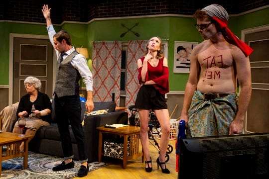 From left to right, Ellen Cooper, Daniel Byron, Alexandra Holmes, and Chris Rand perform during a dress rehearsal for June and Jason's Divorce, written by Laura Lorusso and directed by Jessica Walck, on Monday, October 22, 2018, at Sugden Community Theater in Naples.