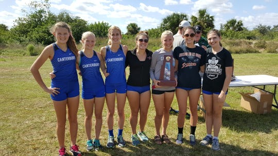 The Canterbury girls cross country team won the Class 1A-District 8 championship on Tuesday, Oct. 23, 2018.
