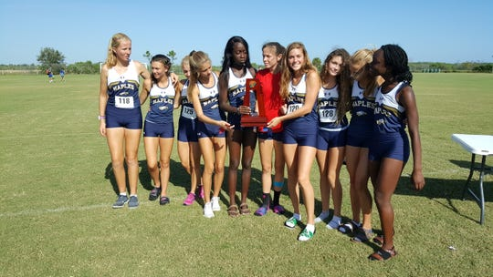 The Naples High School girls cross country team won the Class 3A-District 12 championship on Tuesday, Oct. 23, 2018.