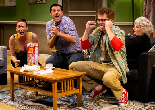 From left to right, Caitlynn Crawford, Cole Butcher, Chris Rand, and Ellen Cooper perform during a dress rehearsal for June and Jason's Divorce on Monday, October 22, 2018, at Sugden Community Theater in Naples. The world premiere of the play, written by Laura Lorusso and directed by Jessica Walck, will be on Wednesday, October 24.