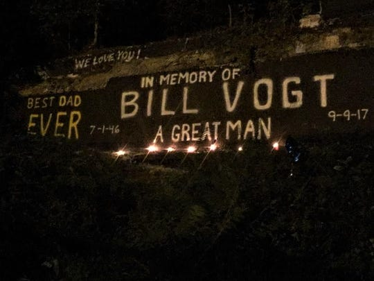 The painted wall in Wanaque was covered to commemorate Bill Vogt, a 71-year-old Wanaque resident who was killed after a collision with a Dodge Ram in September 2017.
