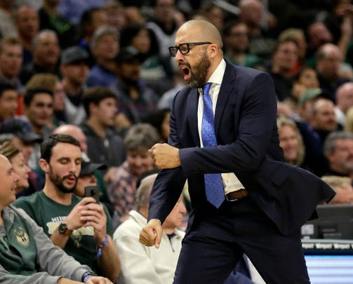 New York Knicks head coach David Fizdale reacts to a call during the second half of an NBA basketball game against the Milwaukee Bucks, Monday, Oct. 22, 2018, in Milwaukee.