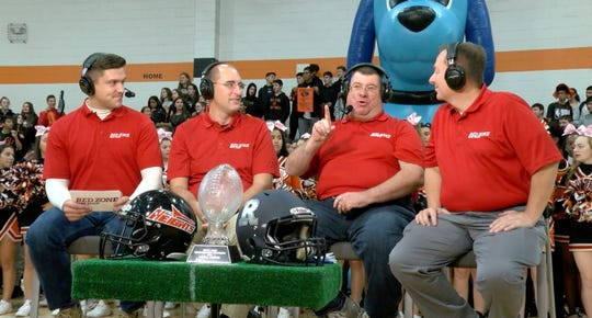 Shown on the set of the Red Zone Road Show at Hasbrouck Heights High School Monday, October 22, 2018, are (l-r): Ryan Ross, Darren Cooper, Steve Falk and Greg Mattura.
