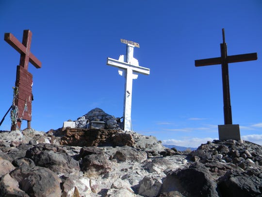 The crosses and shrine at the top of Tomé Hill.