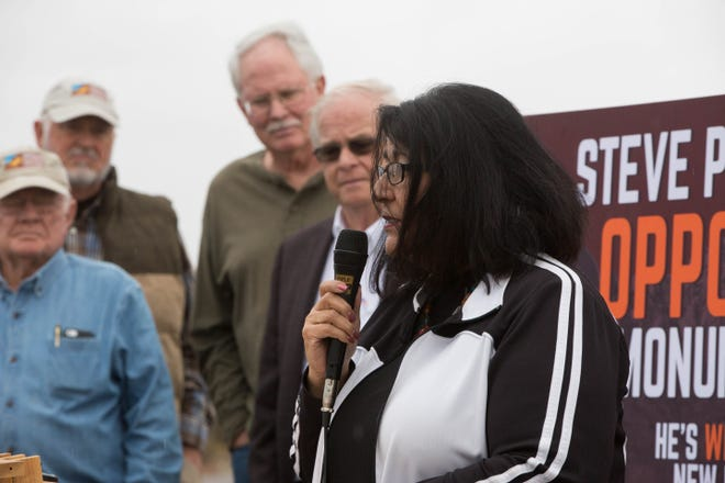 Nora Barraza, mayor of Mesillia, speaks in front of the Organ Mountains-Desert Peaks in support of Michelle Lujan-Grisham, Tuesday October 23, 2018.