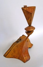 The wood sculptures of Art Peterson will be on display at the Hanover gallery.