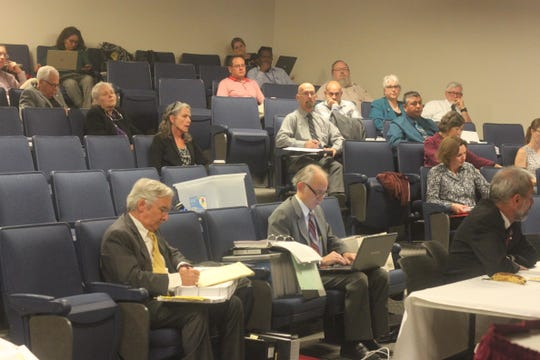 Attendees listen to a public hearing about WIPP's permit modification, Oct. 23, 2018 at New Mexico State University Carlsbad.