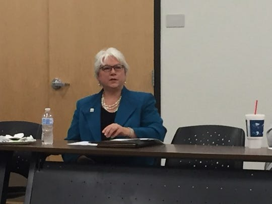 Eddy County State Rep. Cathrynn Brown (R-55) addresses members of the Eddy County DWI Program Advisory Council Tuesday. She plans to attend a campaign rally in Roswell Friday. Vice President Mike Pence is the keynote speaker.