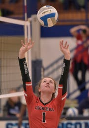 Livonia Churchill's Grace Vaeth is the starting setter on the KLAA East Division champion volleyball team.