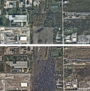 Before-and-after aerial photos from April and October of 2017 show the area where trees were removed.