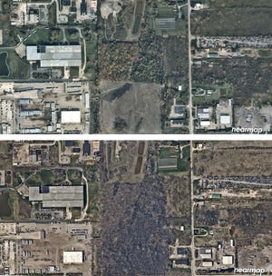 Before-and-after aerial photos from April and October 2017 show the area where trees were removed.