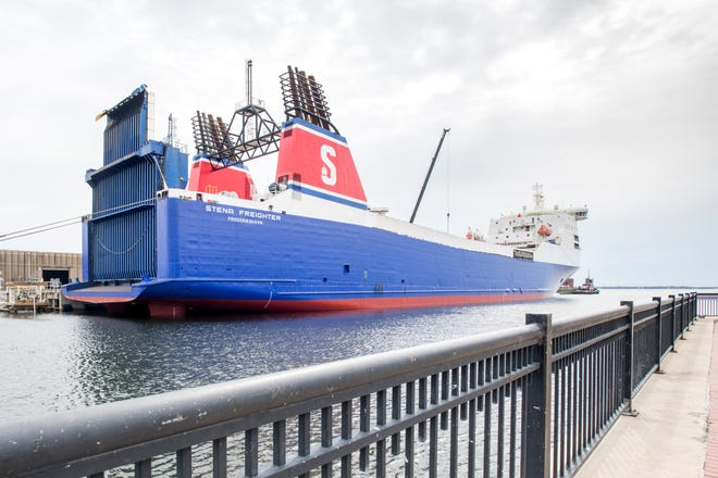 The ship Stena Freighter owned by Jeff Bezos' Blue Origin is docked at the Port of Pensacola on Tuesday, October 23, 2018.