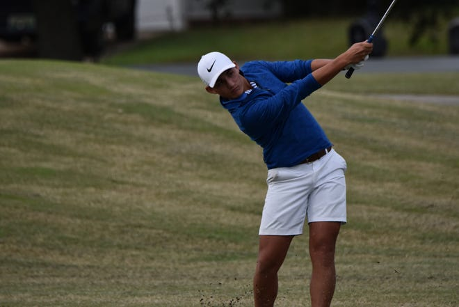 Pace senior John David Cobb, shown competing in the Region 1-2A  golf championship, produced a 78 in the first-round of the Class 2A state tournament and is tied for 15th overall.