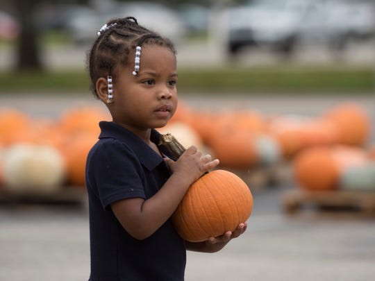 Legaci Culliver, 2, finds her perfect pumpkin Tuesday at Cokesbury United Methodist Church on Ninth Avenue.