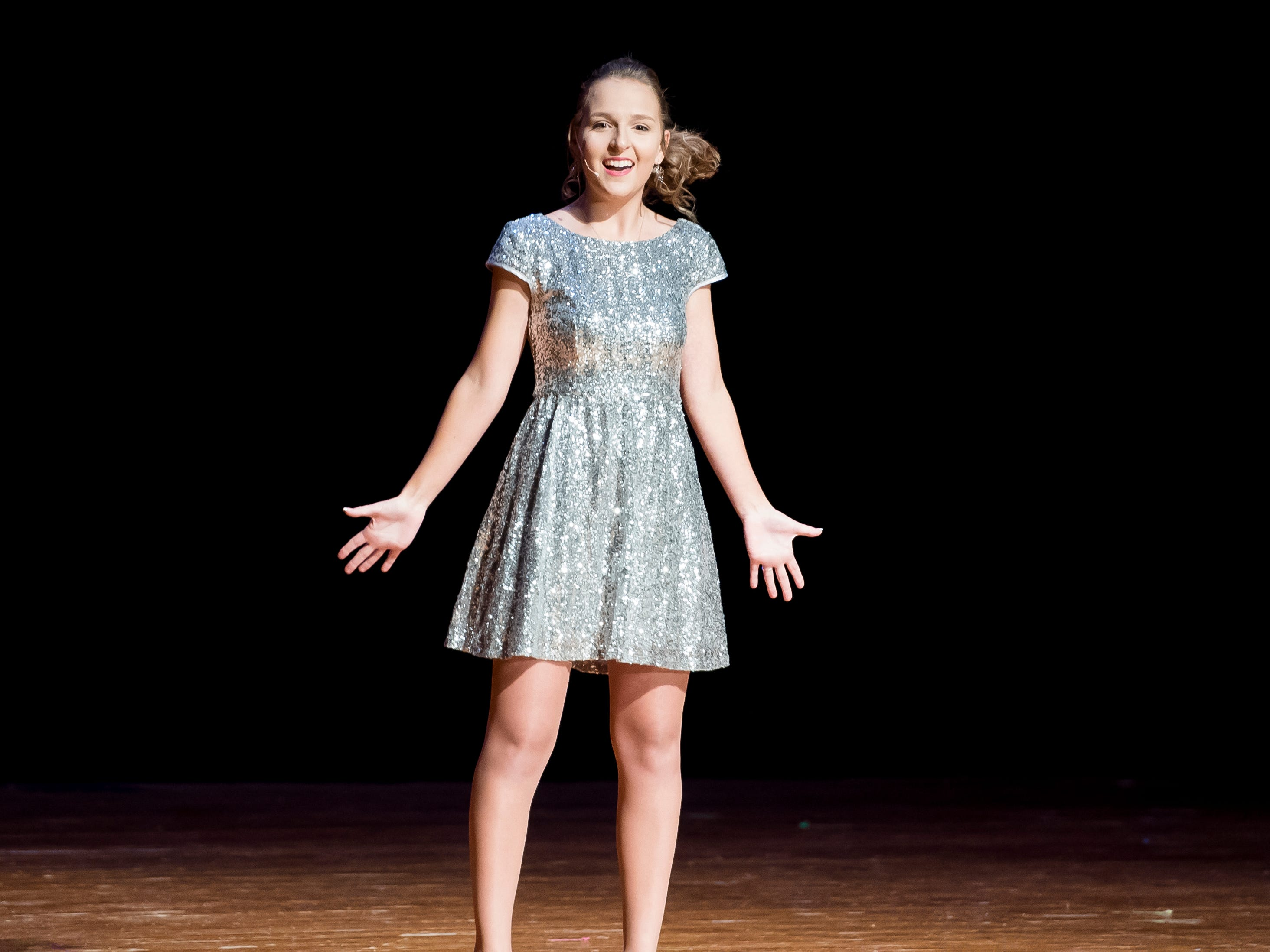 Littlestown's Lindsay Boritz sings during the talent competition at the 50th Miss Hanover Area pageant on Monday, October 22, 2018. Boritz was named second runner-up.