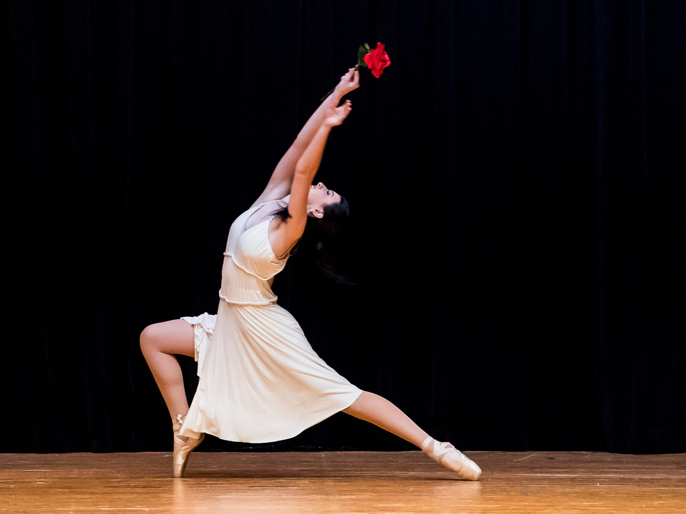 Hannah Uhl performs a contemporary pointe routing during the talent competition at the 50th Miss Hanover Area pageant on Monday, October 22, 2018.