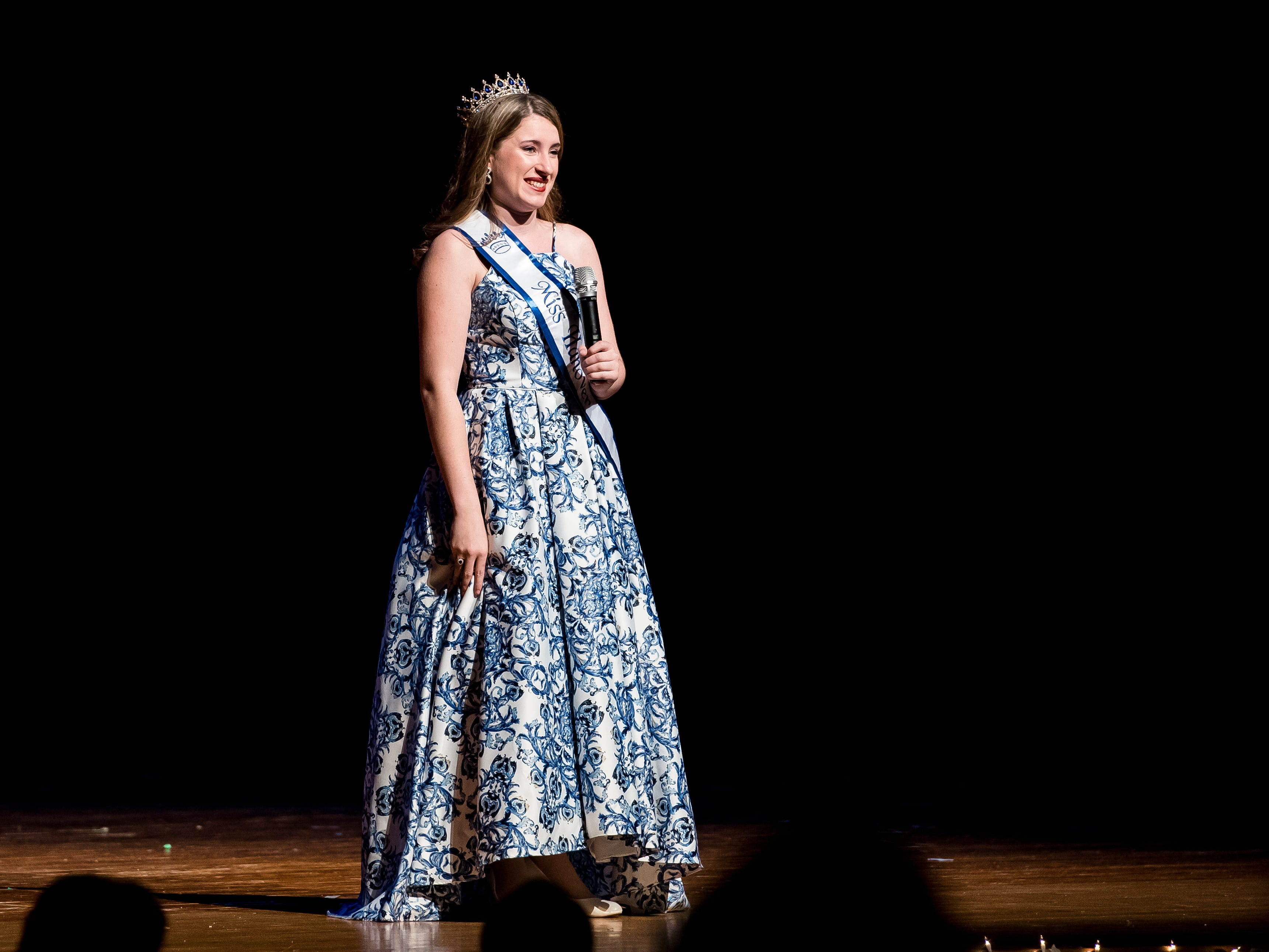Marley Bradner, Miss Hanover Area 2017-2018, sings during the 50th Miss Hanover Area pageant at New Oxford High School on Monday, October 22, 2018.