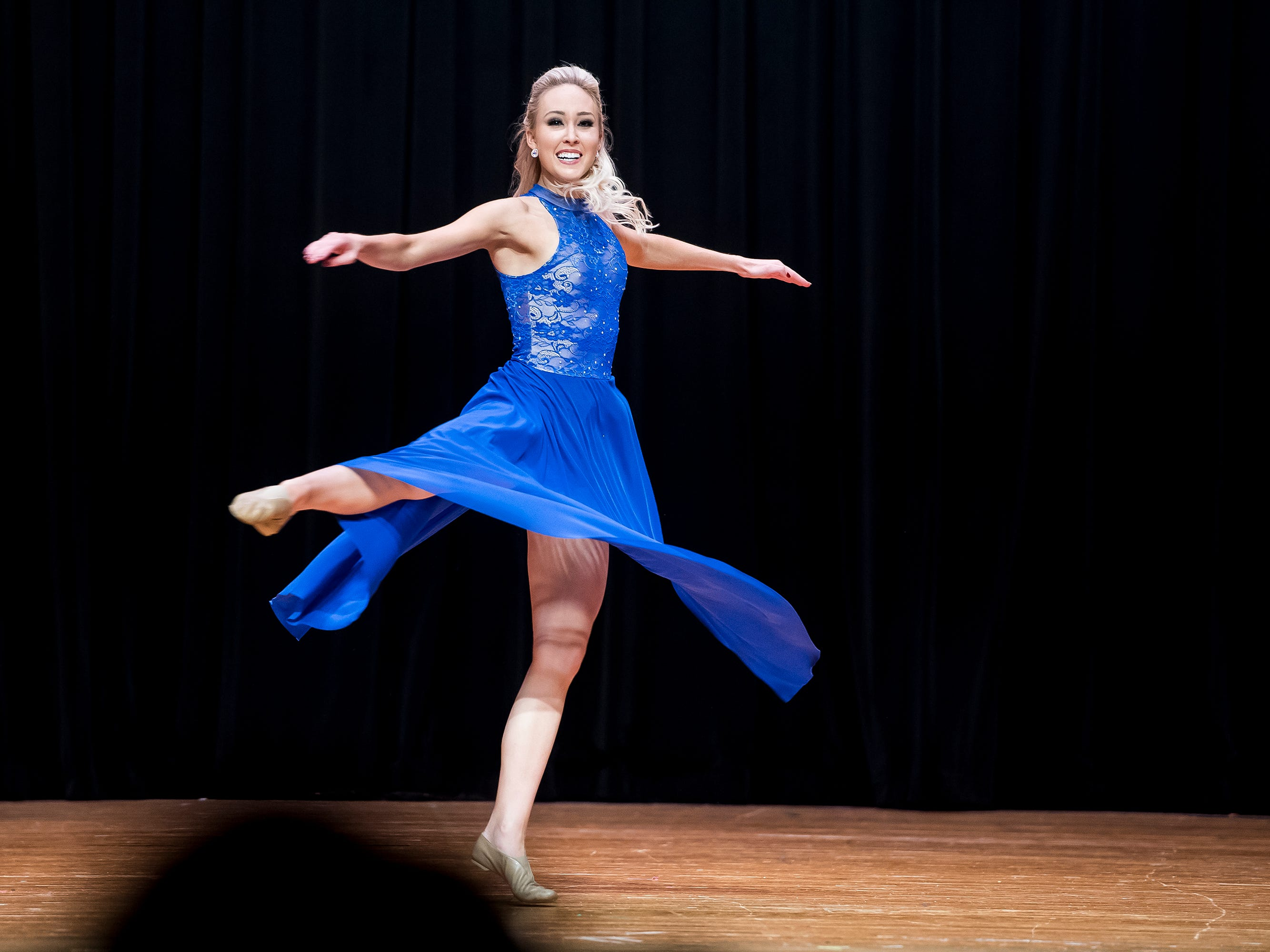 Miss Pennsylvania, Kayla Repasky, dances during a special talent presentation at the start of the 50th Miss Hanover Area pageant on Monday, October 22, 2018.