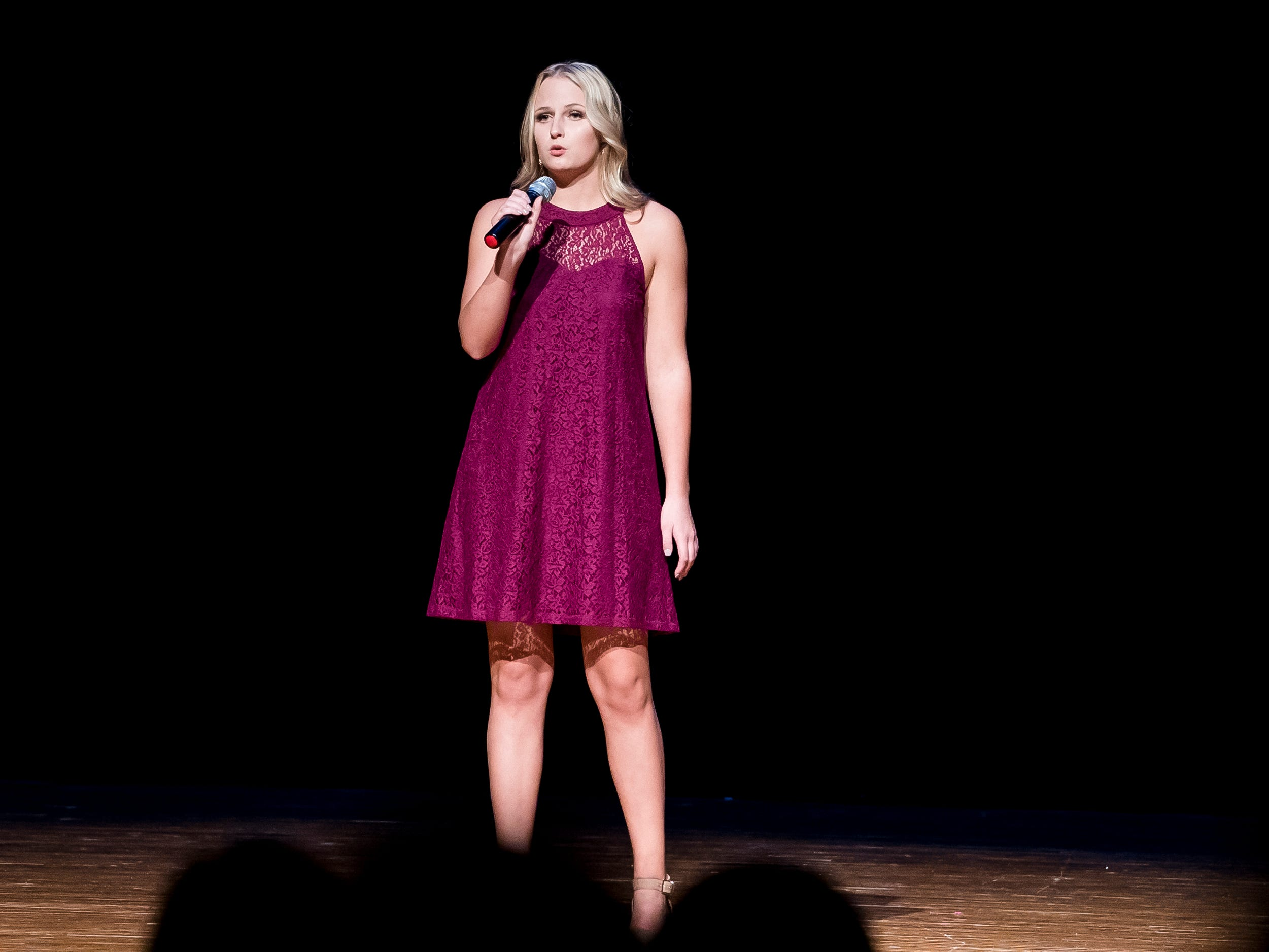 Cara Green sings during the talent competition at the 50th Miss Hanover Area pageant on Monday, October 22, 2018.