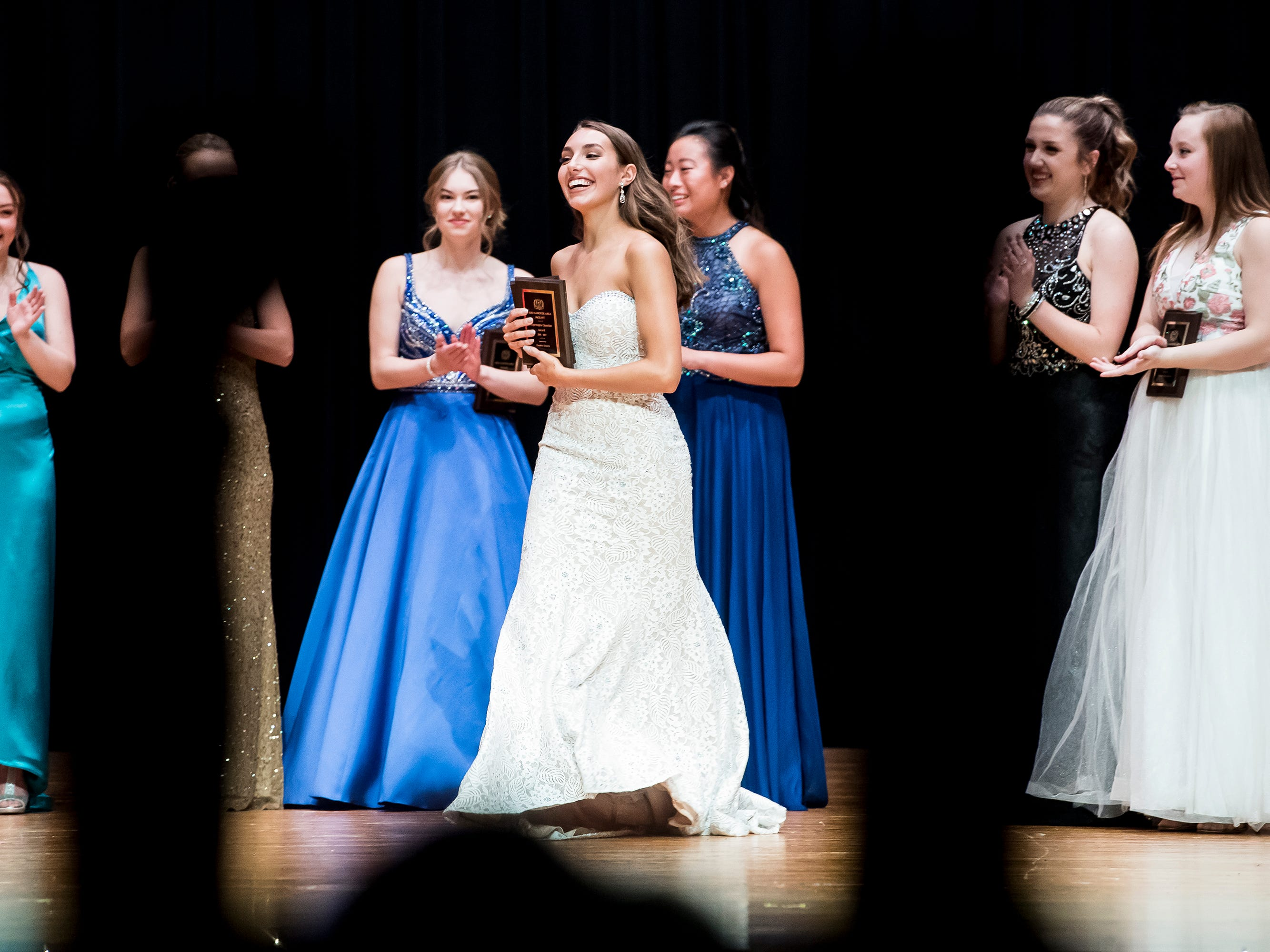 Madlyn Farley reacts after winning the evening gown competition at the 50th Miss Hanover Area pageant on Monday, October 22, 2018. Farley was crowned the 2018-2019 Miss Hanover.