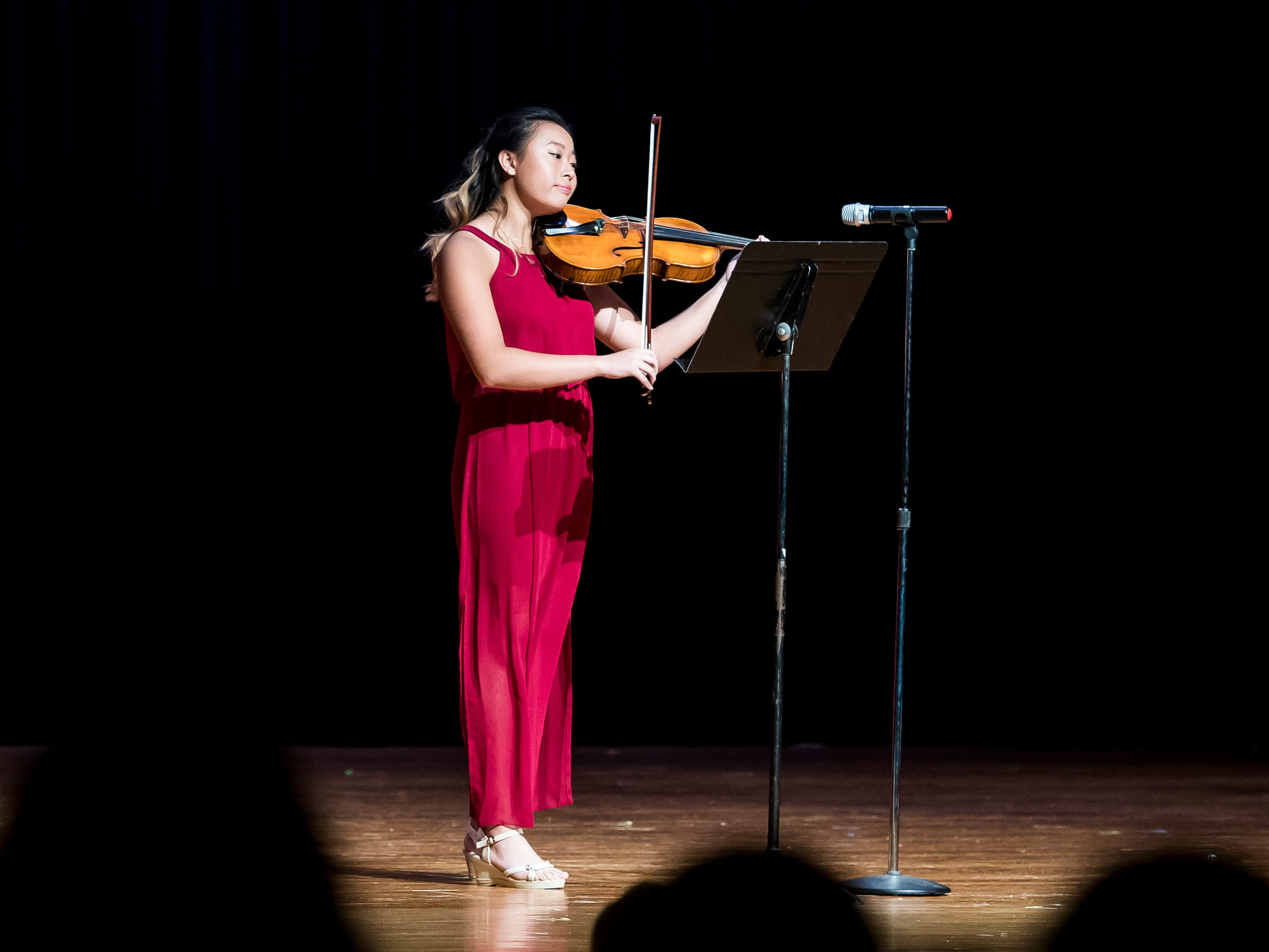 Karen Yang plays the viola during the talent competition at the 50th Miss Hanover Area pageant on Monday, October 22, 2018.