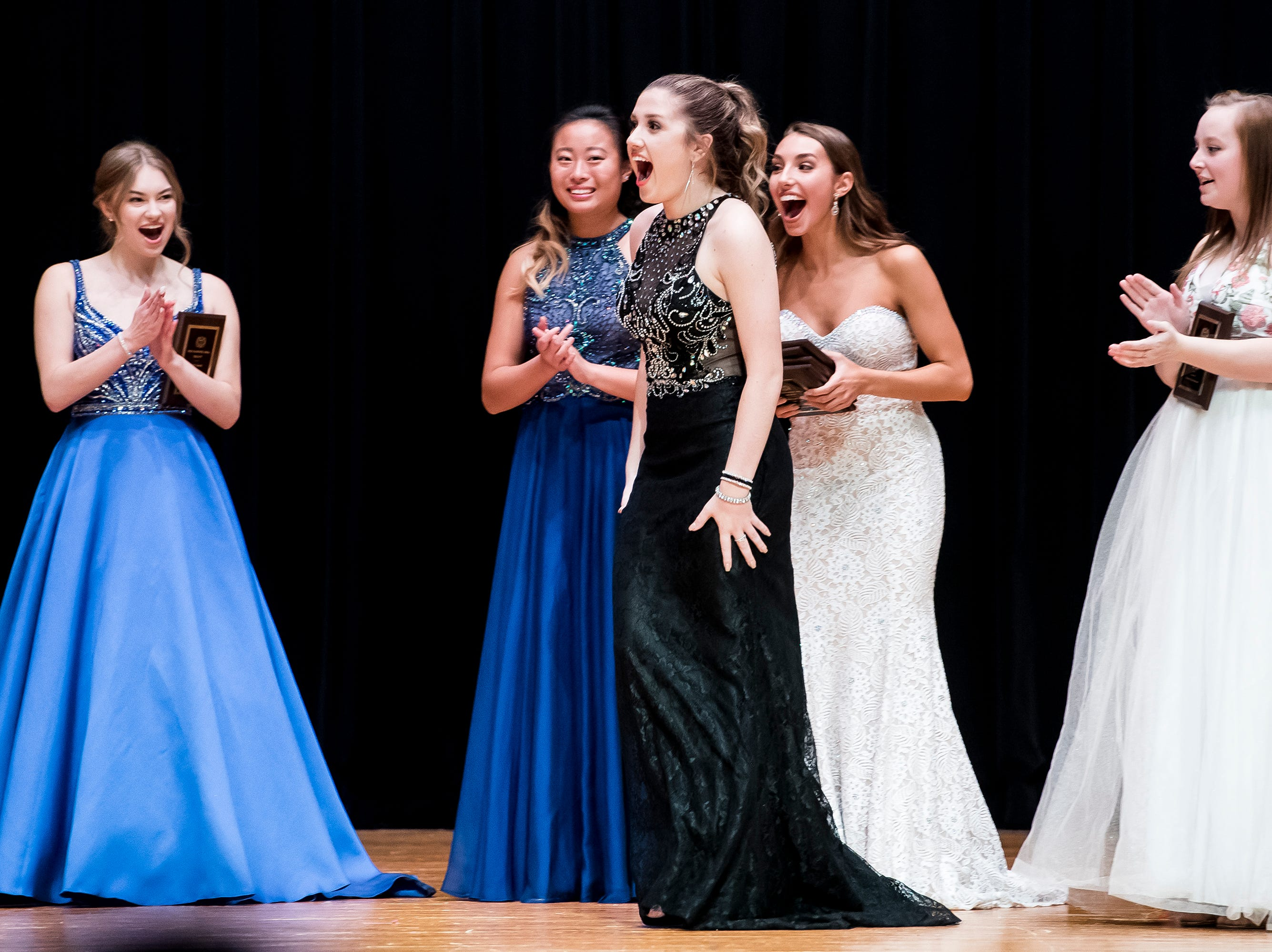 Spring Grove's Hannah Nell reacts after being named the the first runner-up at the 50th Miss Hanover Area on Monday, October 22, 2018.