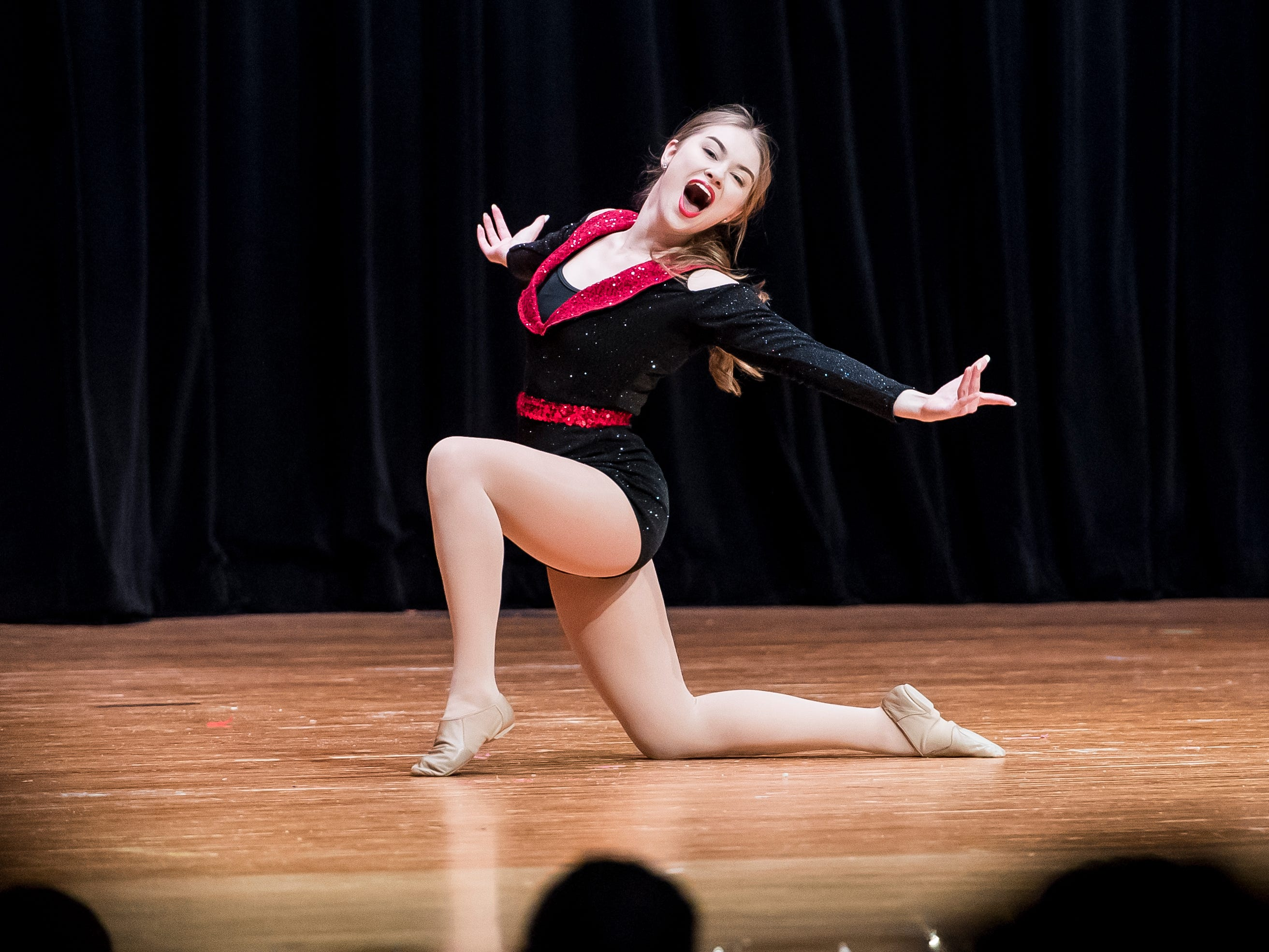 Corrine Beil performs a dance routine in the talent competition at the 50th Miss Hanover Area pageant on Monday, October 22, 2018.