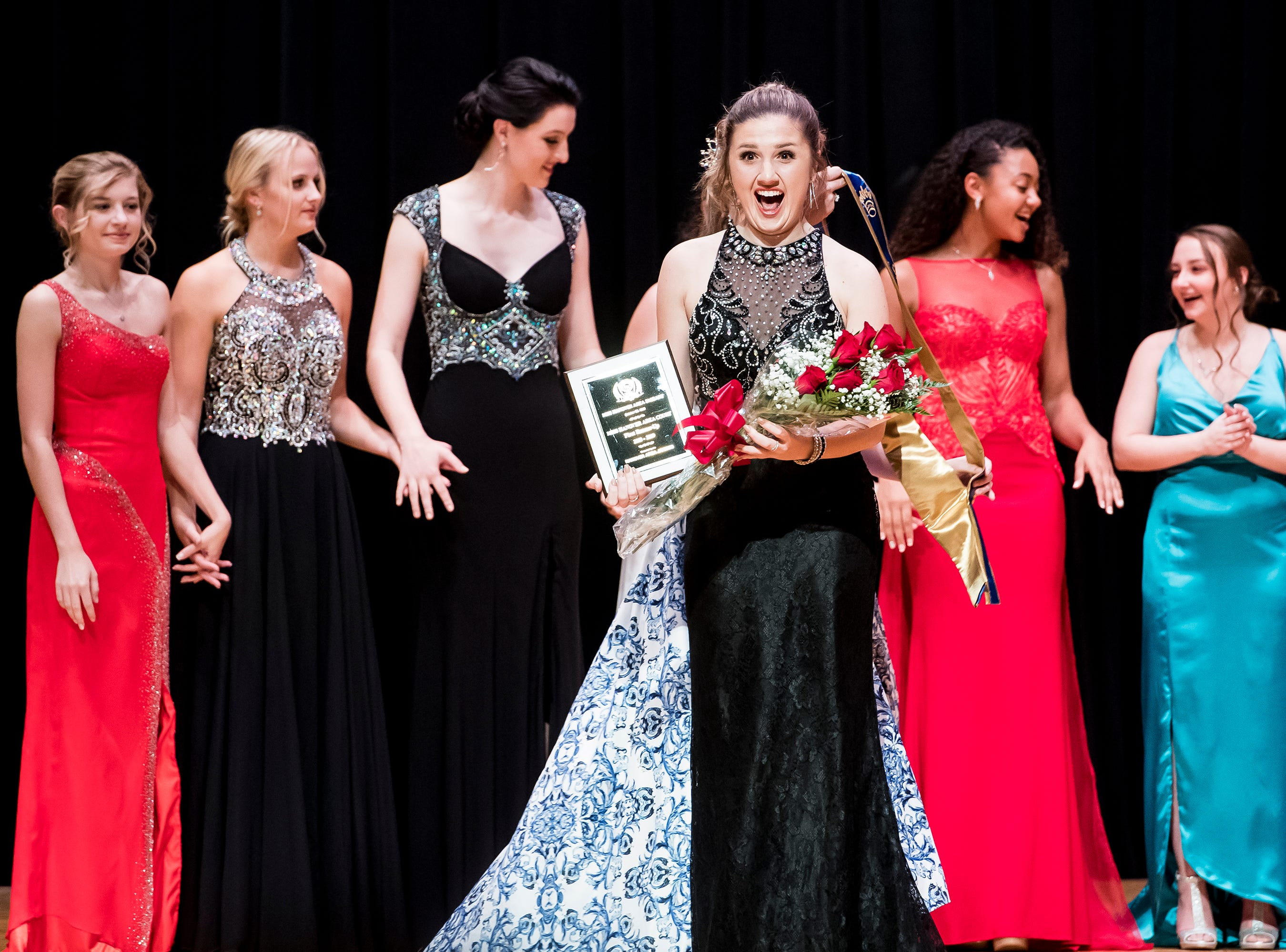 Spring Grove's Hannah Nell reacts as she is presented as the first runner-up at the 50th Miss Hanover Area on Monday, October 22, 2018.