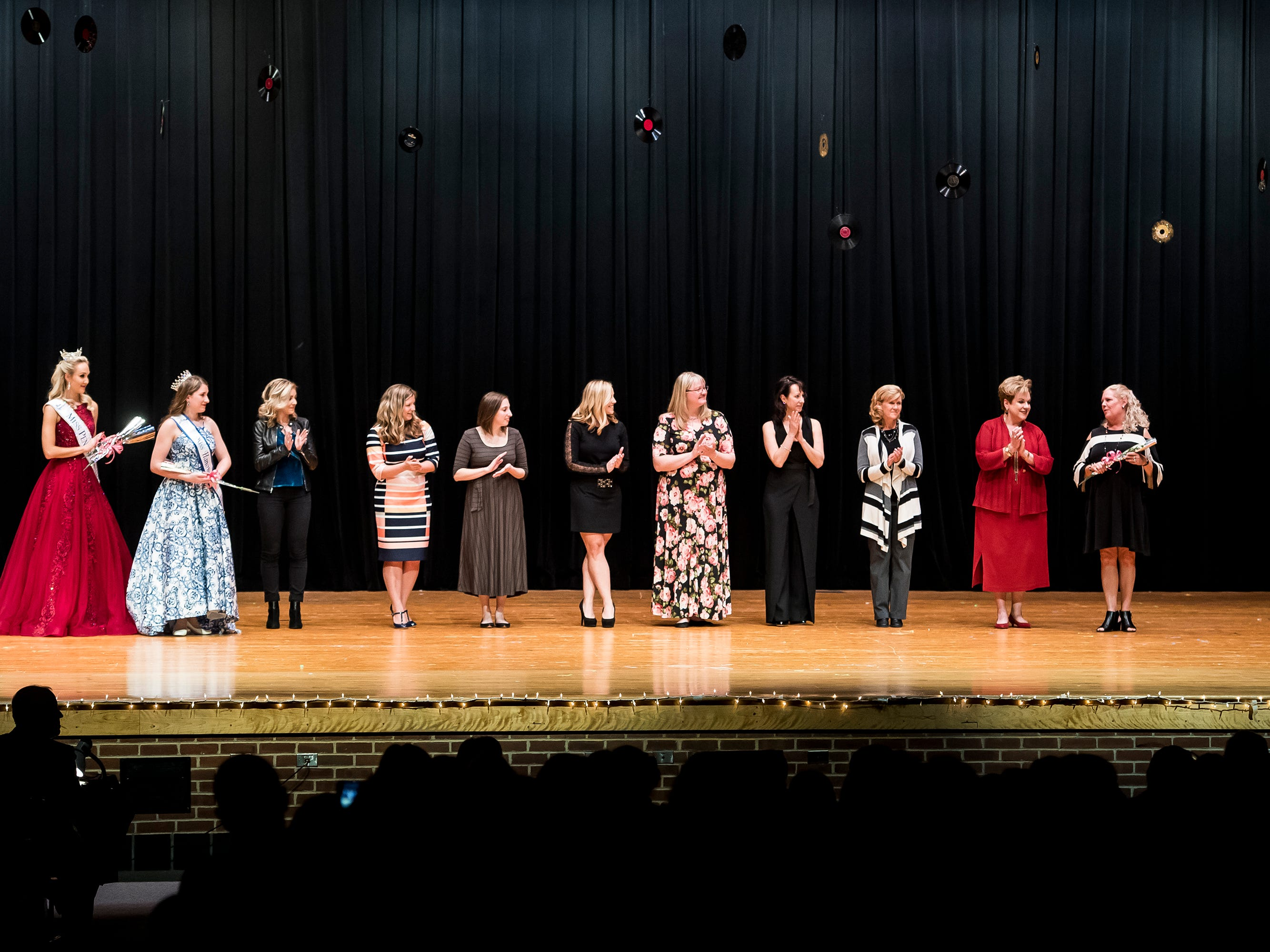 Former Miss Hanover Area pageant winners are honored during a special ceremony at the 50th annivesary pageant on Monday, October 22, 2018.
