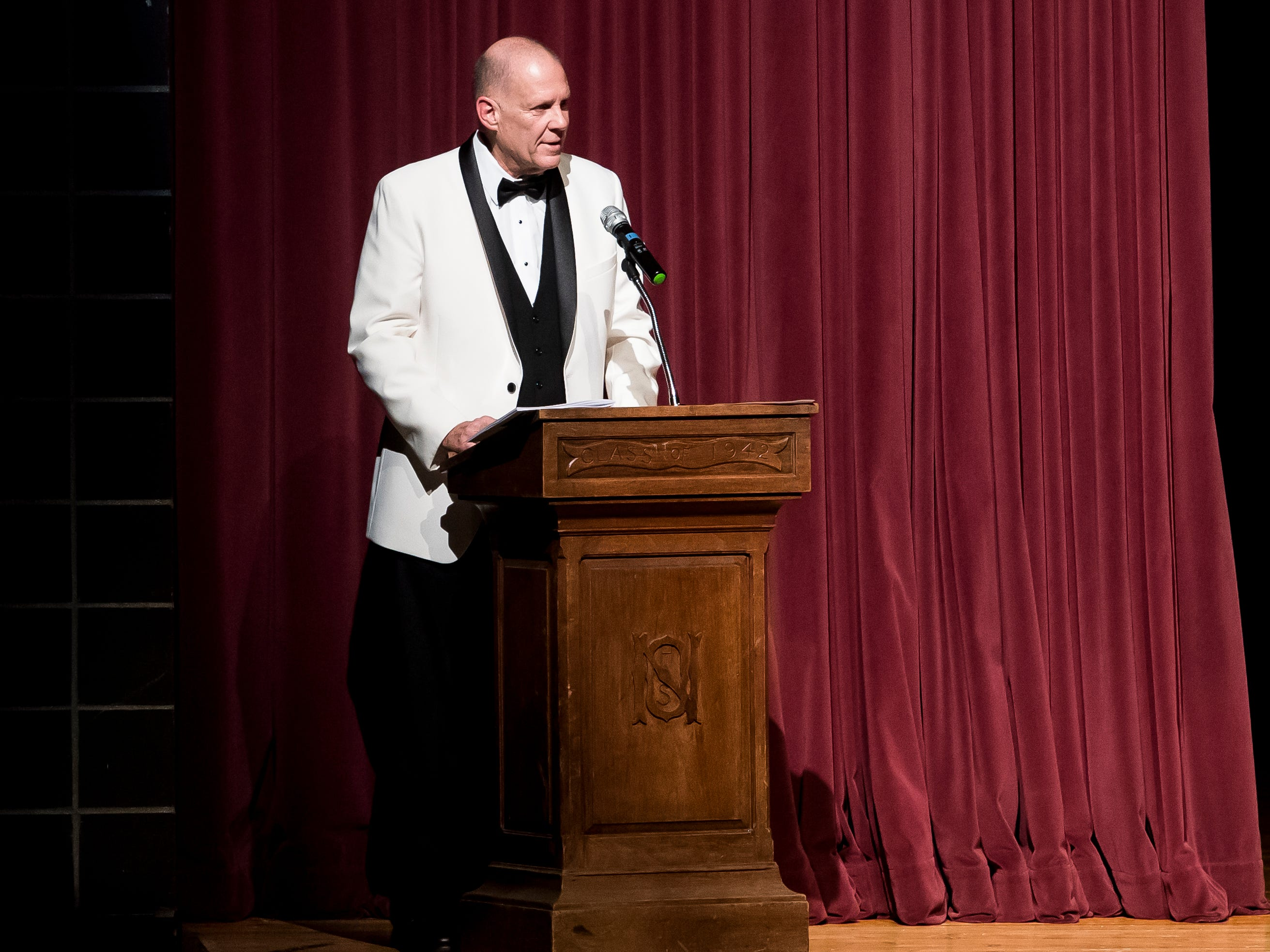 Mike Mummert serves as the master of ceremonies at the 50th Miss Hanover Area pageant on Monday, October 22, 2018.