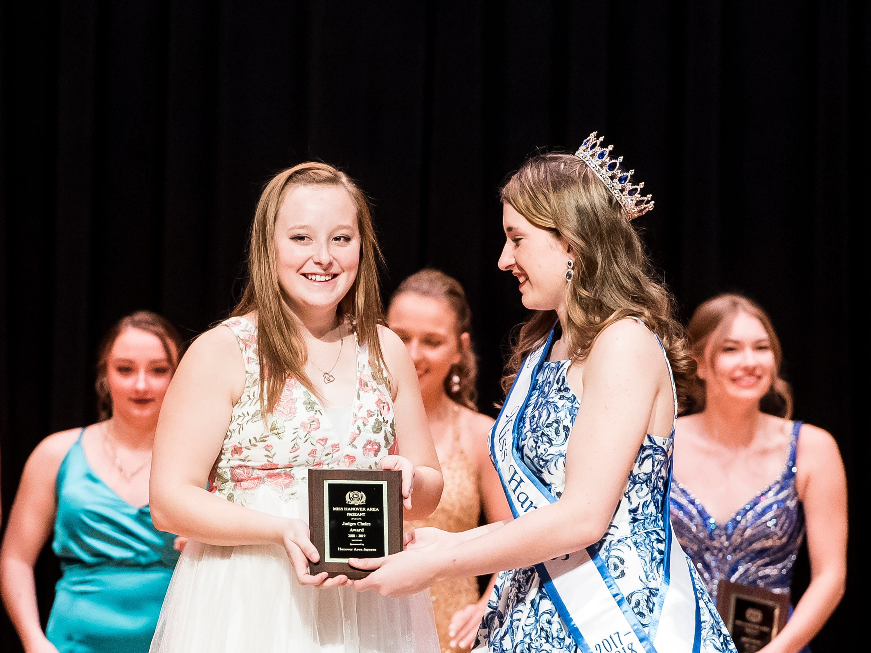 Alissa Wagaman is presented with the judges choice award at the 50th Miss Hanover Area pageant on Monday, October 22, 2018.