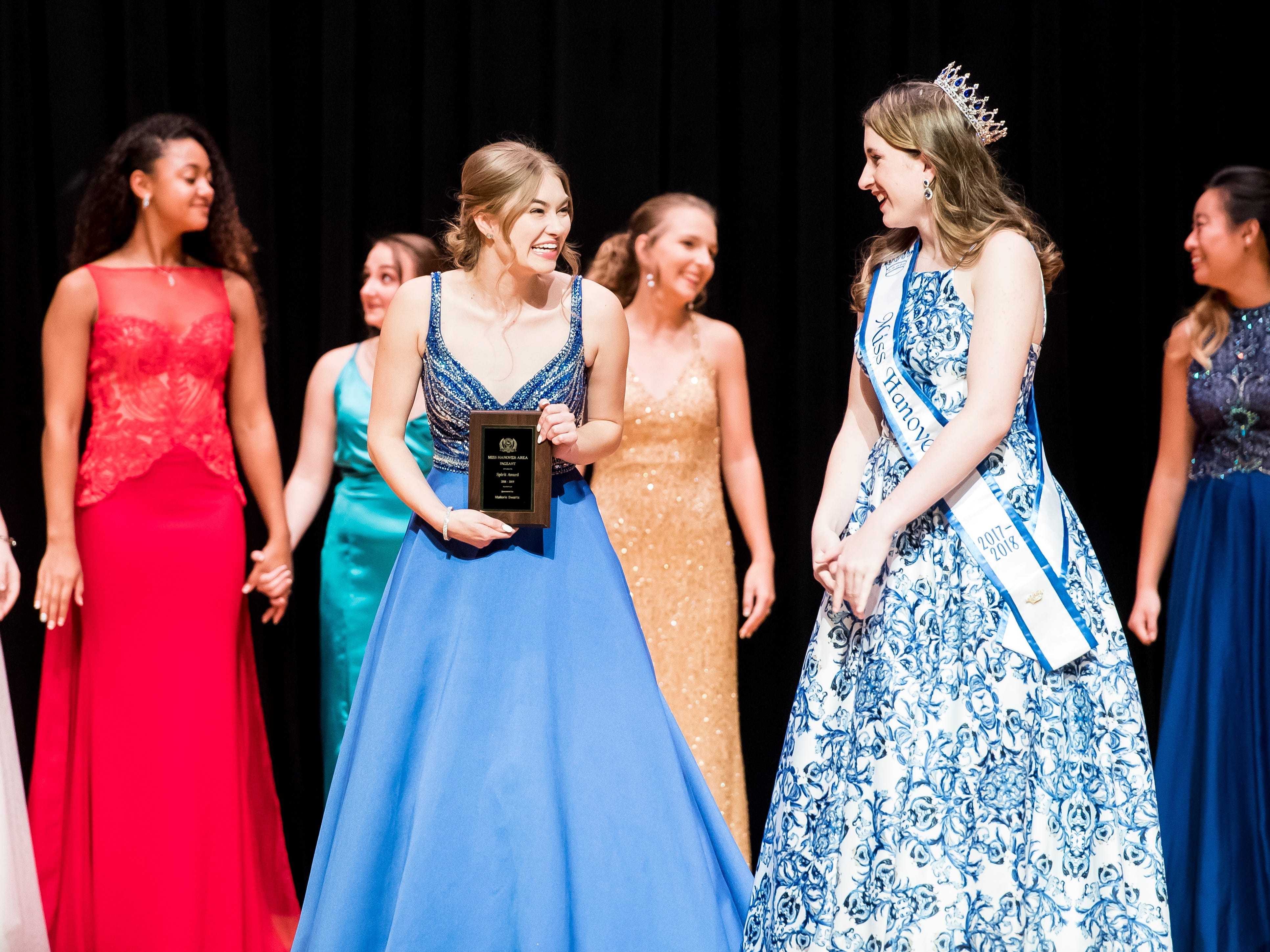 Corrine Beil reacts after winning the spirit award at the 50th Miss Hanover Area pageant on Monday, October 22, 2018.