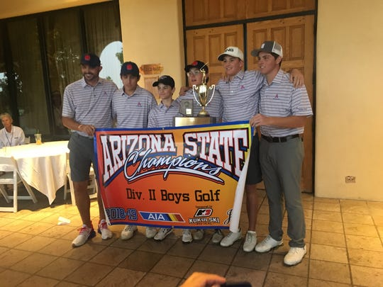 The Arcadia boys golf team celebrates back-to-back state titles.