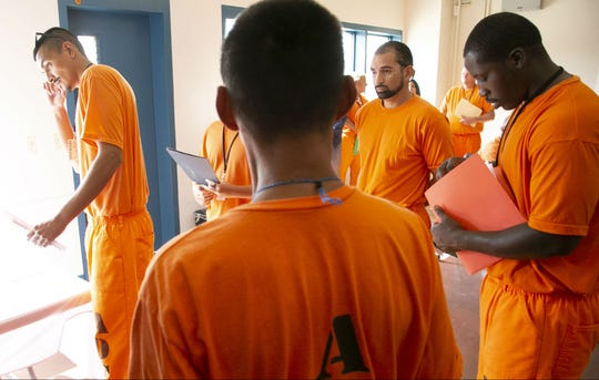 Inmates at a job fair, part of the Second Chance Center in the Eagle Point Unit of the Arizona State Prison Complex-Lewis in Buckeye on October 23, 2018. The Second Chance Center is working to prepare inmates for their release to find jobs and in other areas to prevent recidivism.