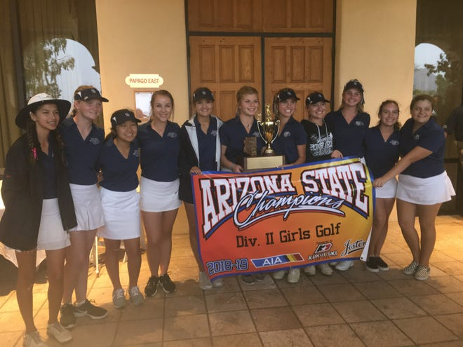 The Cactus Shadows girls golf team celebrates its third state title in a row.