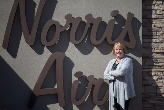 A portrait of Paula Norris, October 15, 2018, at Norris Air, 3841 E. Main St., Mesa.
