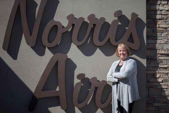 A portrait of Paula Norris, October 15, 2018, at Norris Air, 3841 E. Main St., Mesa.