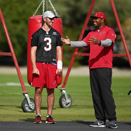 Byron Leftwich officially takes over as Cardinals OC, but Josh Rosen misses 1st practice