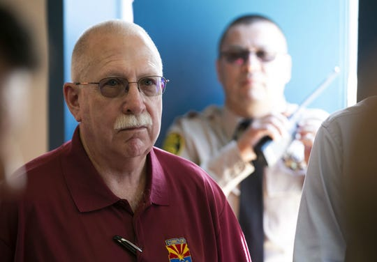 Arizona Department of Corrections Director Charles Ryan looks on during a job fair for inmates, part of the Second Chance Center in the Eagle Point Unit of the Arizona State Prison Complex-Lewis in Buckeye on October 23, 2018.