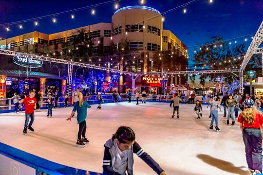 Along with the ice-skating, there are a ton of festivities at the Westgate Entertainment District for everybody to enjoy, including a nightly snowfall now through Jan. 13.