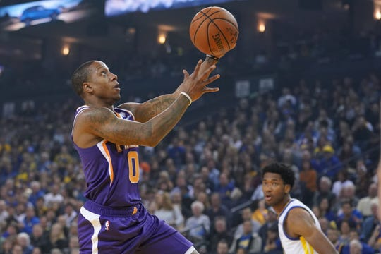 October 22, 2018; Oakland, CA, USA; Phoenix Suns guard Isaiah Canaan (0) shoots the basketball against Golden State Warriors center Damian Jones (15) during the first quarter at Oracle Arena. Mandatory Credit: Kyle Terada-USA TODAY Sports