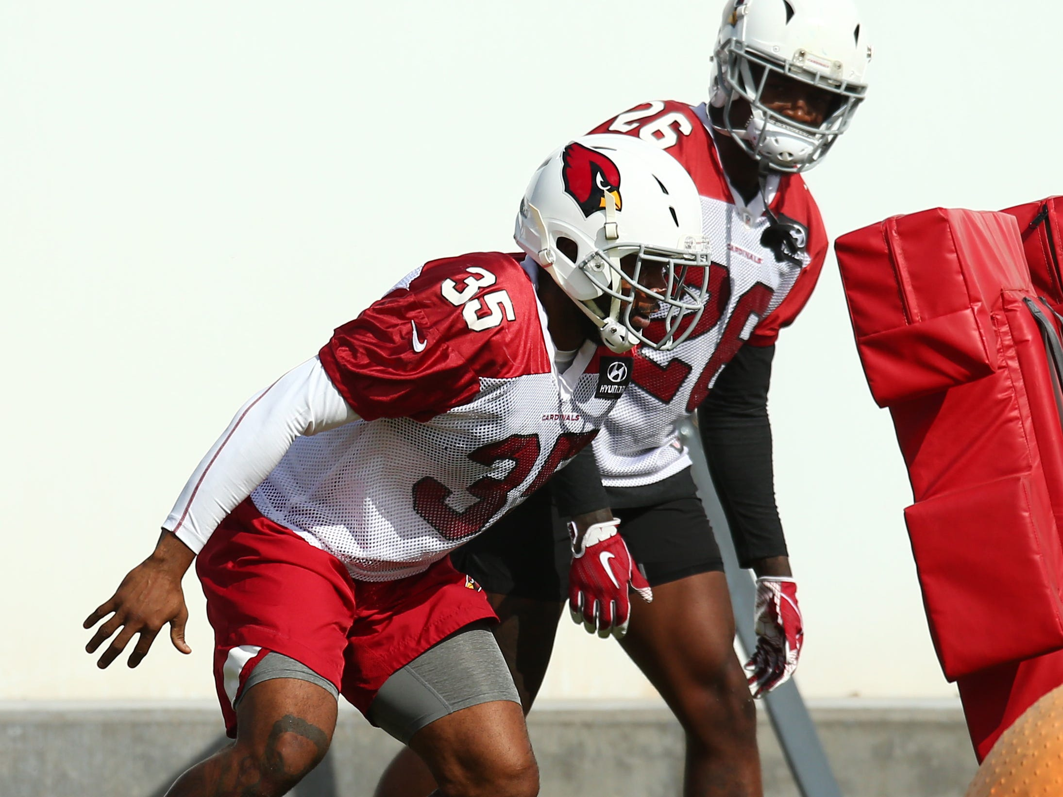 Arizona safety Eddie Pleasant (35) on Oct. 22 at the Cardinals Training Facility.